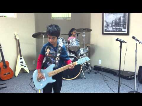 Kids playing ACDC - Shook Me All Night Long Cover