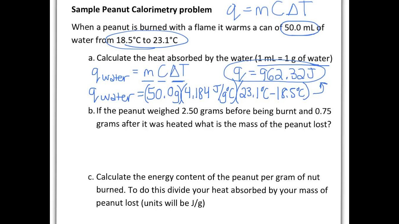 Coffee cup calorimeter problems - Thermochemistry Peanut Lab Sample Problem Calculating Energy