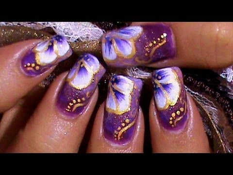 purple & gold nail art design tutorial