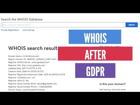 WHOIS for domain names after GDPR