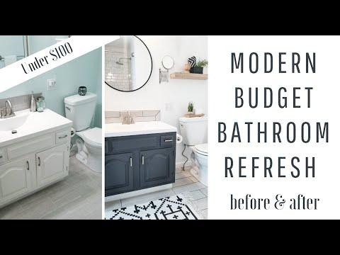 HOME DIY | $30 BATHROOM VANITY MAKEOVER | MODERN SMALL BATHROOM