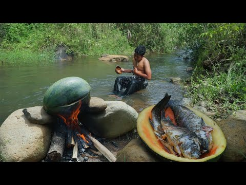 Primitive Technology - Cooking Fish Inside Watermelon