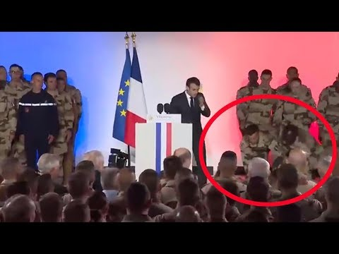 Military man falls unconscious in front of Macron after his speech in Chad