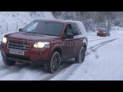 UK Snow: Cars slipping and sliding in Gloucestershire