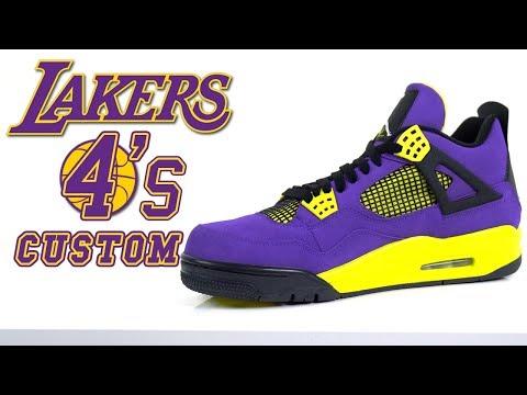 Custom Laker Jordan 4's - Customs by Vick