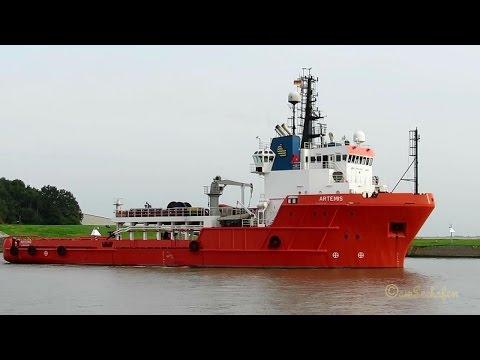 offshore support vessel ARTEMIS outbound Emden 5BVJ3 IMO 8321591 Schlepper Tug Emden Tennet
