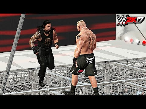 WWE 2K17 - Roman Reigns vs Brock Lesnar Epic Hell In A Cell