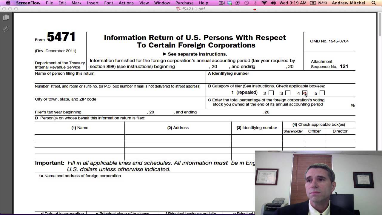 IRS Form 5471, Page1 - YouTube