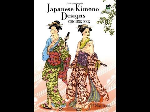 Flip Through Dover Japanese Kimono Designs Coloring Book