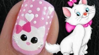 Cute Marie the Cat Nail Art Tutorial from the Disney Movie The Aristocats Animal Nail Design