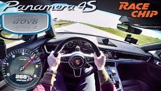 Porsche Panamera 4S Diesel 2017 RACECHIP 505 HP POV Test Drive AUTOBAHN by AutoTopNL