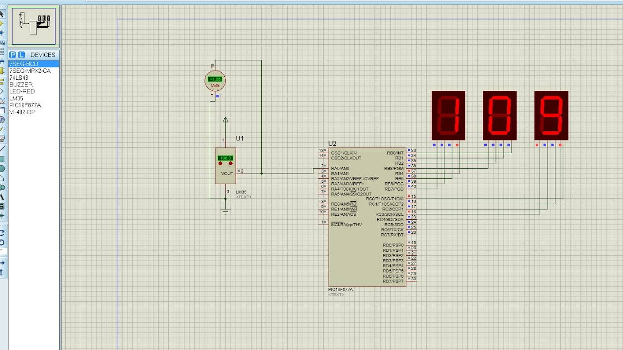 Pic16f877a Thermometer Proteus Mplab Youtube Circuit Diagram To Interface 7 Segment With Premium