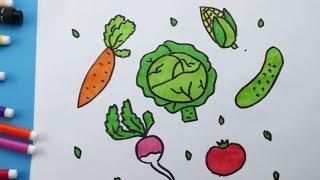 How To Draw Vegetables Coloring Carrot Cabbage Cucumber Tomato. Coloring pages Vegetables for Kids
