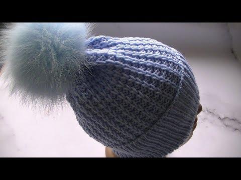 Вяжем  шапку узором с вытянутыми  петлями спицами.