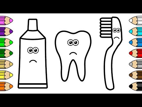 Coloring for Baby with Crying Tooth, Toothbrush and Toothpaste - Colouring Book for Children