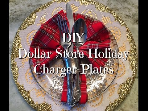 DIY Dollar Store Holiday Charger Plates Up-cycle Hack