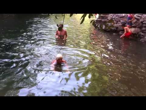 Anneke and Bryan swimming in the Sierra Nevada