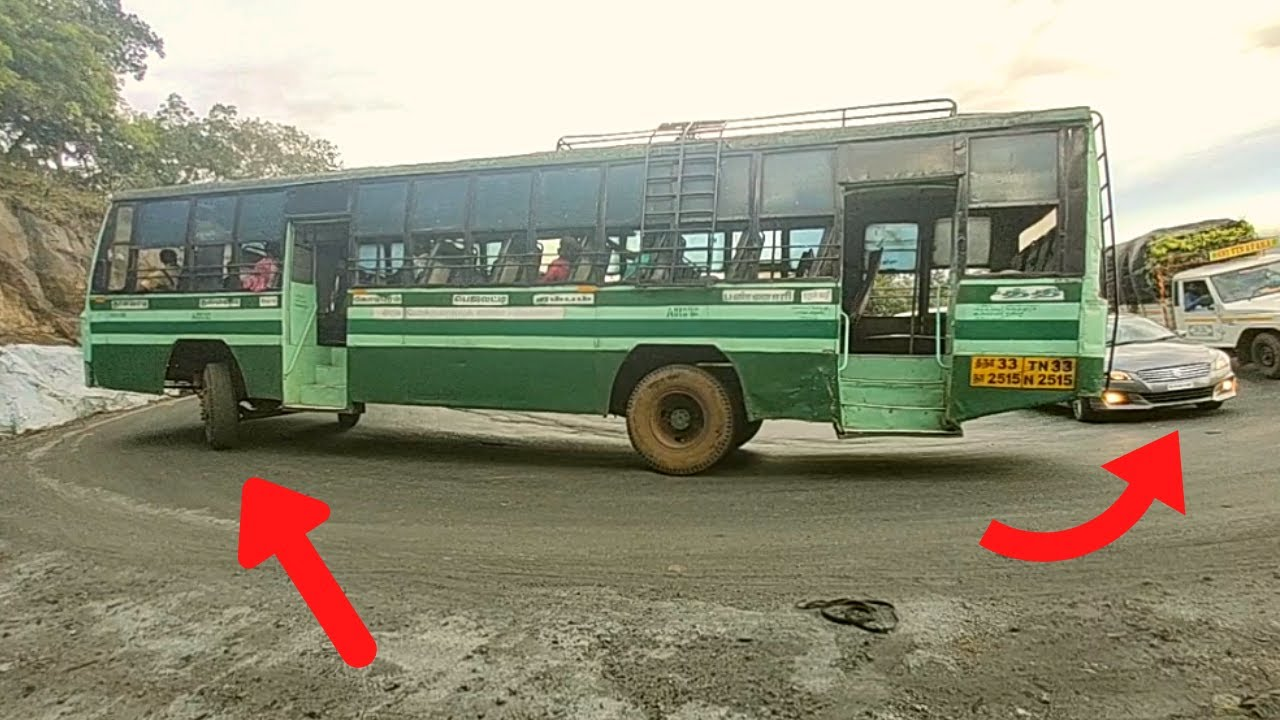 Bus And Lorry Crossing 8th Hairpin bend Reversing Driving Dhimbam Hills TN