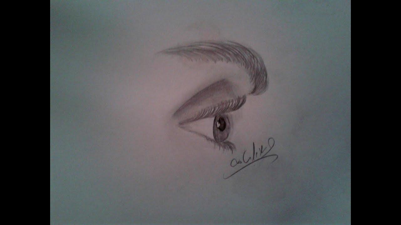 تعليم رسم العين من الجانب وحاجب العين بالرصاص إسلام أسامه تعلم