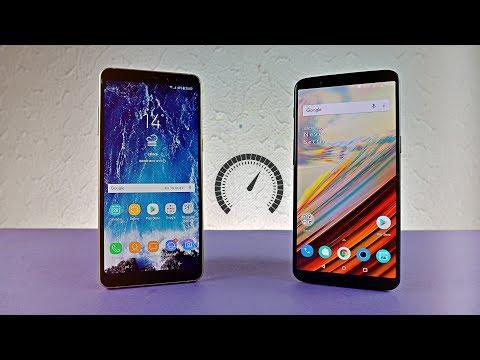 Samsung Galaxy A8 Plus 2018 vs OnePlus 5T - Speed Test!