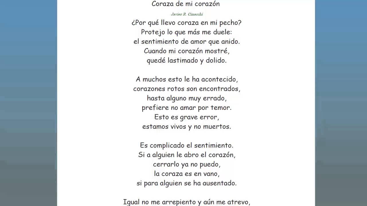 Poema sobre proteger el corazon, lectura poemas - YouTube