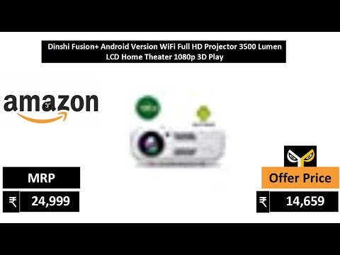 Dinshi Fusion+ Android Version WiFi Full HD Projector 3500 Lumen LCD Home Theater 1080p 3D Play