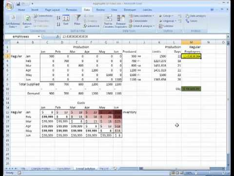 Aggregate Planning on Microsoft Excel, Transportation Problem - YouTube