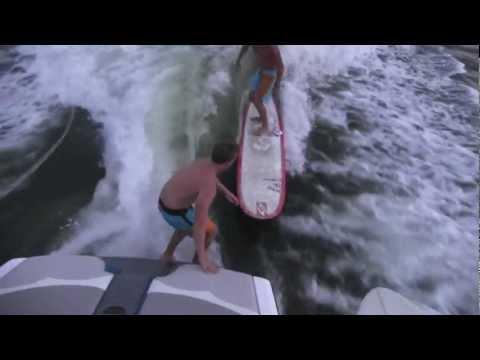 MALIBU SURFGATE wakesurfing with Aussie longboard PROS