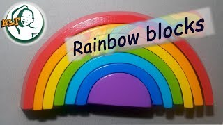 Learn color with  wooden stacking rainbow toy