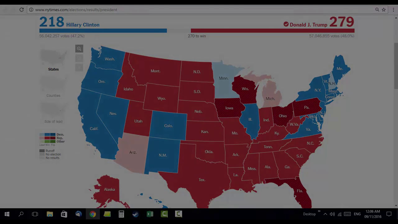 Presidential Elections Timelapse USA Clinton Vs Trump YouTube - 2016 us counties election map meme