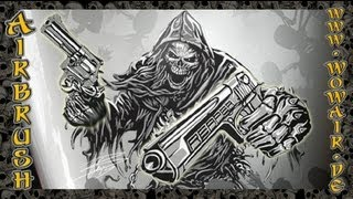 """Airbrush by Wow No.423 """"Ultimate Reaper Stencil Set Guns 1 of 3 """" HD"""