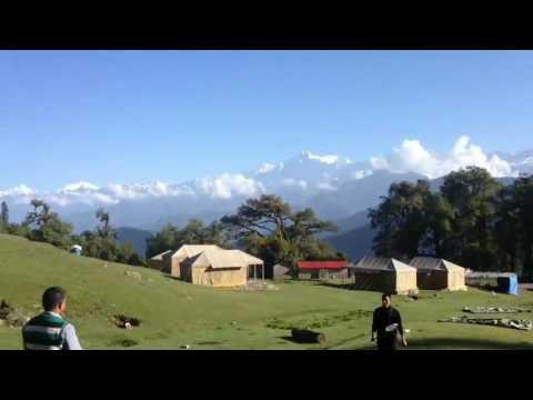 Guests enjoying badminton on a sunny day..... At Himalaya Resorts, Chopta.