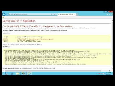The Microsoft.Jet.OLEDB.4.0 provider is not registered on the local machine IIS8 or IIS7