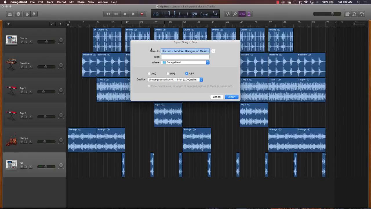 how to make garageband file to mp3
