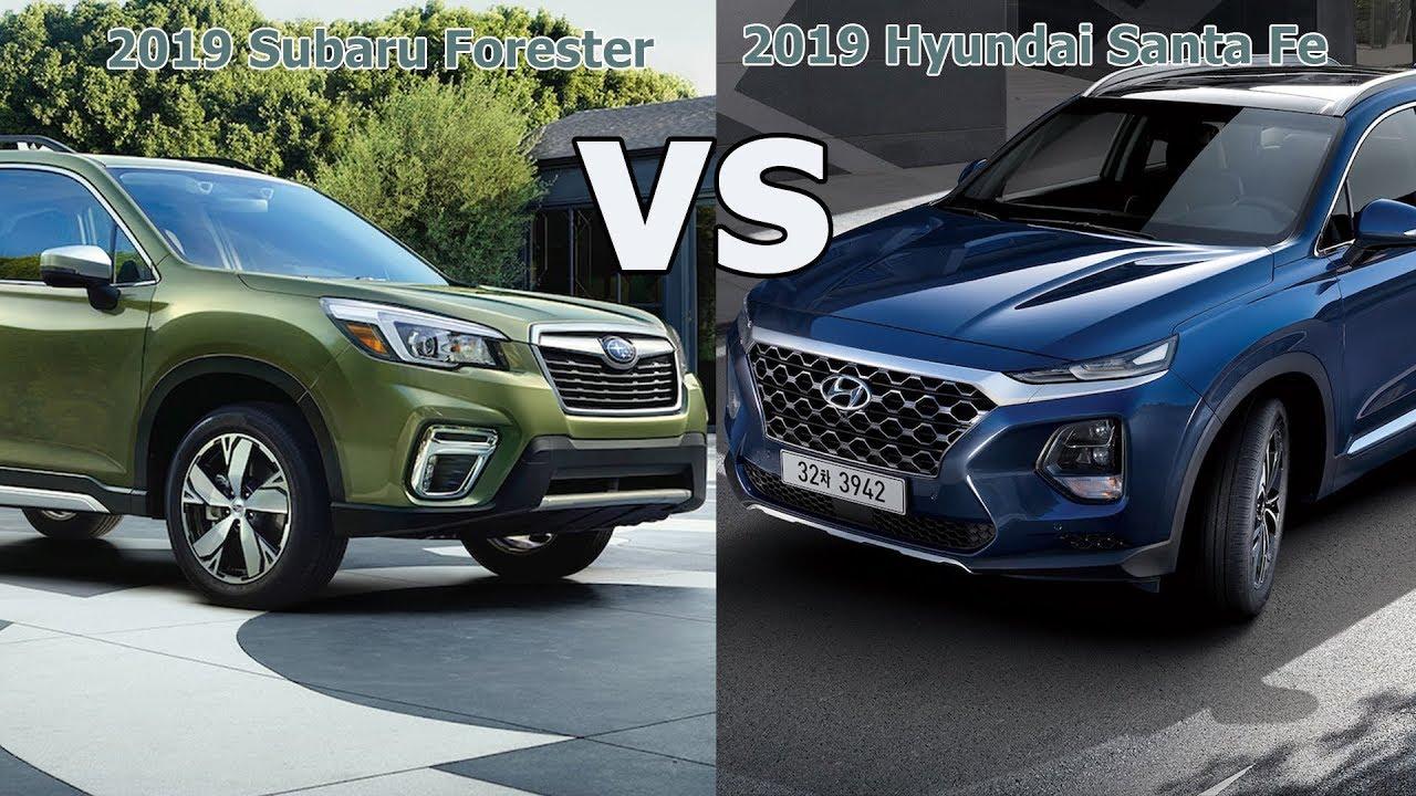 Subaru Santa Fe >> 2019 Hyundai Santa Fe Vs 2019 Subaru Forester Mt Cars
