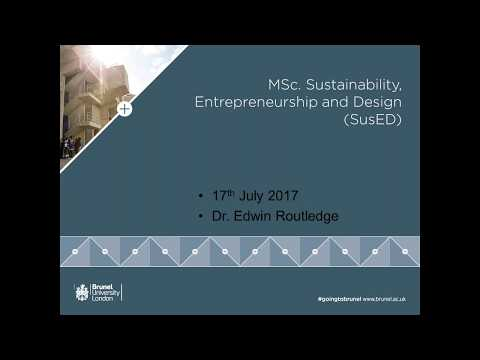 Sustainability, Entrepreneurship and Design MSc Webinar