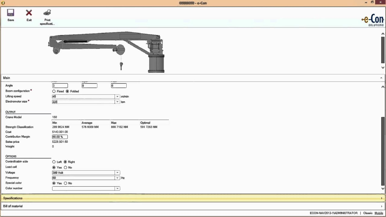 Configure a Crane in Dynamics NAV and see the created BOM and a Microsoft Office Data Sheet