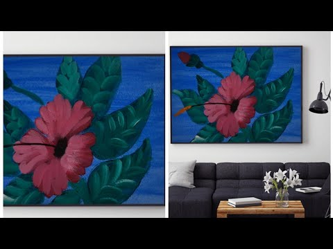 Beautiful flower Acrylic painting/ Satisfying Art and Music/ Easy Acrylic Painting