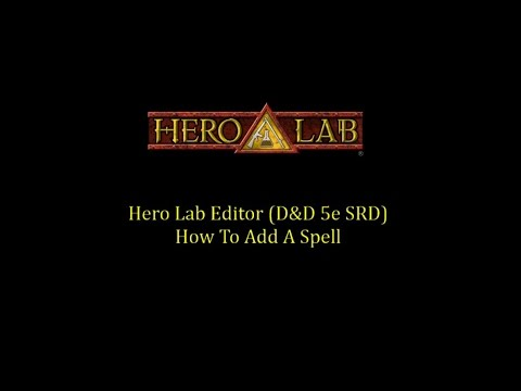 Hero Lab Editor - Create a Spell