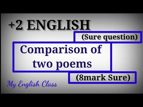 Plus two English focus area| Comparison of two poems| Poem Comparison| Plus two English exam