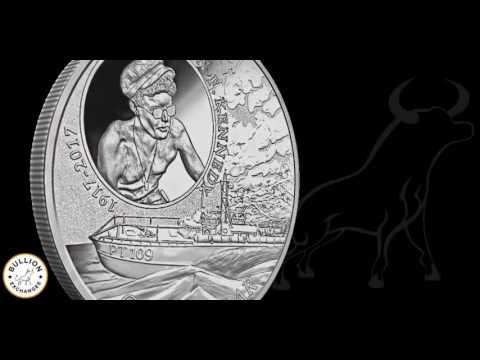 2017 $1 John F. Kennedy JFK Solomon Islands 1 oz Silver Coin - 100th Anniv. JFK PT109