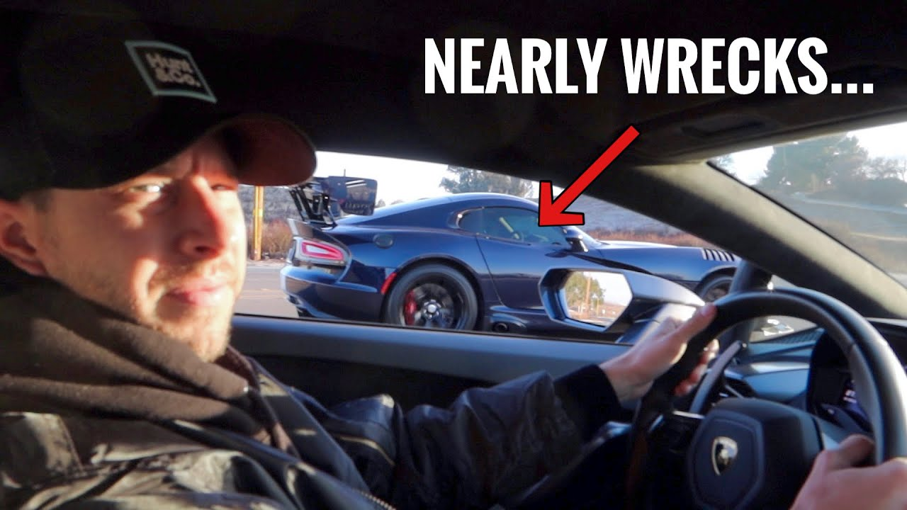 VIPER ACR OWNER TRIES TO RACE ME...ALMOST CRASHES