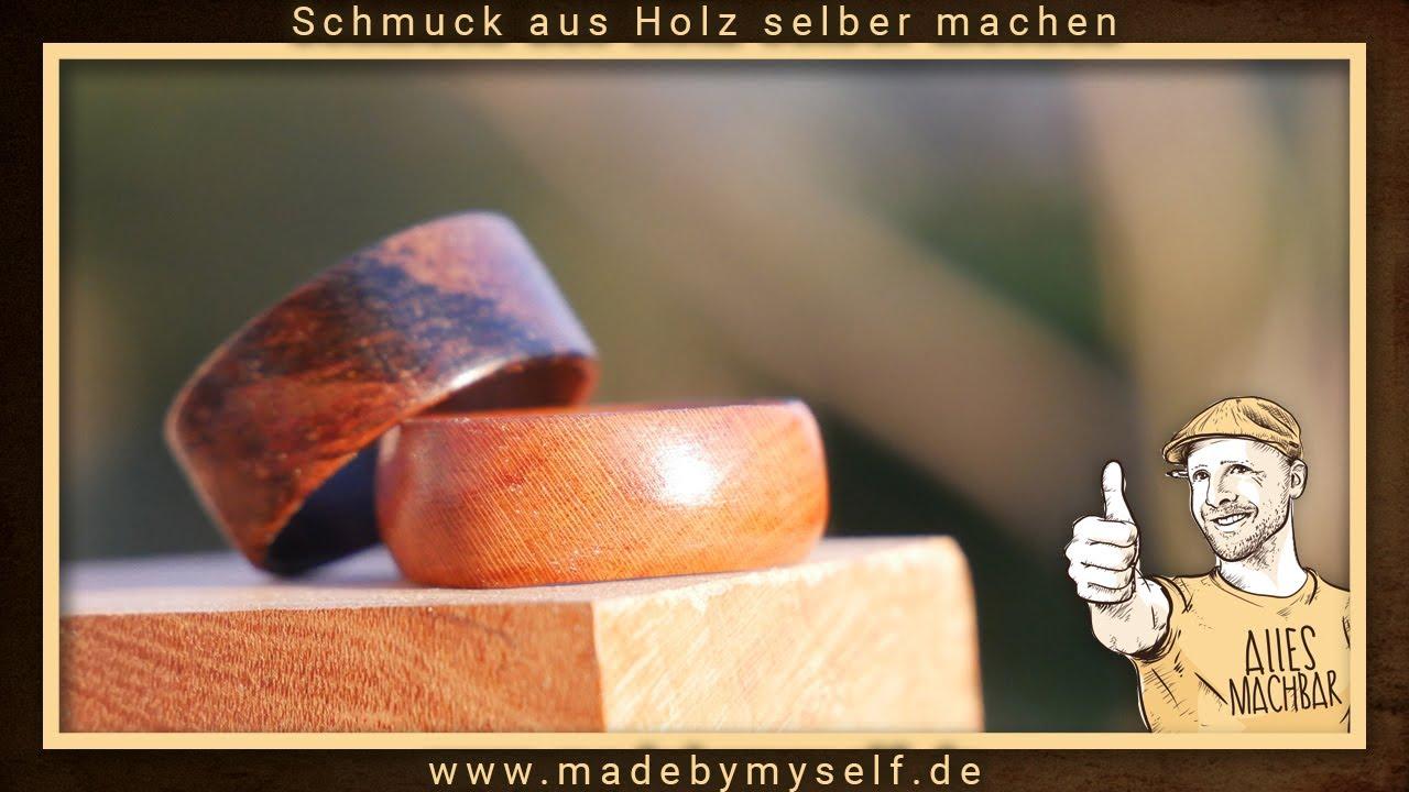 Schmuck selber machen Holzring Ring aus Holz selber machen