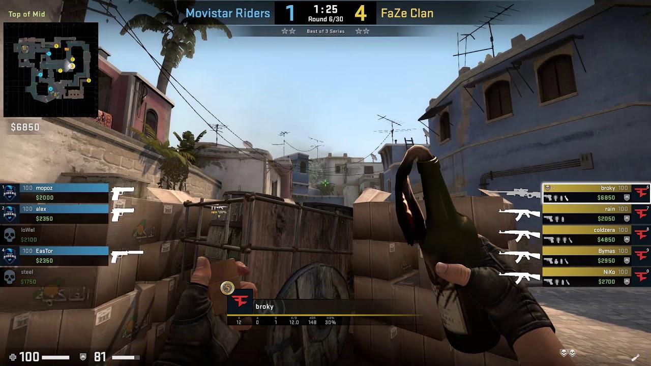 CS:GO POV Demo FaZe broky (25/5) vs Movistar Riders (de_mirage)