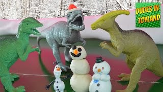 Dinosaur toys playing in the snow Play-Doh
