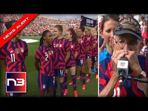 US Women's Soccer Team DISRESPECTS Veteran, American Flag in Disgusting Gameday Display