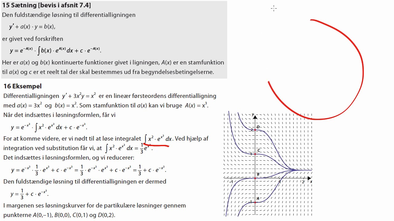 Eks. 16: Fuldstændig løsning til lineær første ordens differentialligning