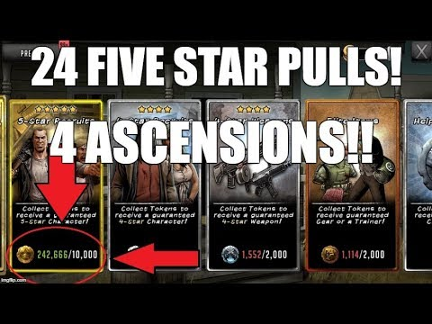 24 FIVE STAR PULLS &  4 ASCENSIONS!!!! - Walking Dead Road to Survival