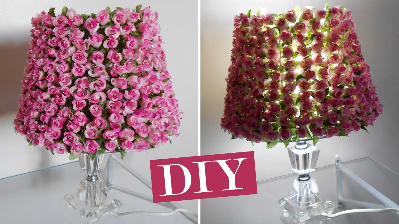 Diy Customizando O Abajur Com Flores Youtube