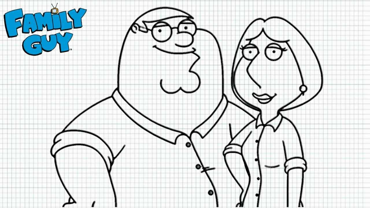 family guy lois coloring pages - family guy how to draw peter and lois video family
